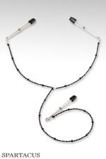 Y-Style - Perles pourpres : Collier en perles à fixer sur les seins et le clitoris par des pinces ajustables.