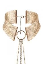 Collier désir métallique doré : Collier métallique doré ambiance porno chic et BDSM soft, collection Désir Métallique, par Bijoux Indiscrets.