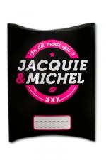 Boite cadeau J&M : Une charmante petite boite cadeau aux couleurs de Jacquie & Michel, votre site coquin préféré.