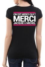 Tee-shirt  J&M noir - spécial  femme : JM pensent aussi (et surtout) aux femmes avec un tee-shirt spécifique mettant mieux en valeur leurs charmes.