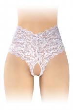 Boxer ouvert Julia - blanc : Boxer coquin blanc, échancré et ouvert entre les cuisses, par Fashion Secret.