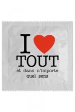 Préservatif humour - I Love Tout : Préservatif I Love Tout, un préservatif personnalisé humoristique de qualité, fabriqué en France, marque Callvin.